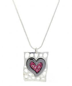 Hematite Heart Pink Crystals Fashion Necklace